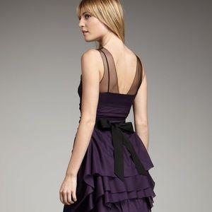 Vera Wang Purple Illusion Top Beaded-belt Dress